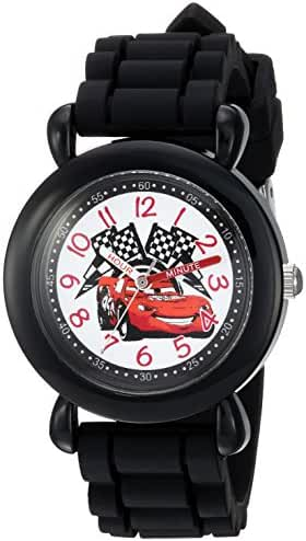 Disney Boy's 'Cars' Quartz Plastic and Silicone Casual Watch, Color:Black (Model: WDS000150)